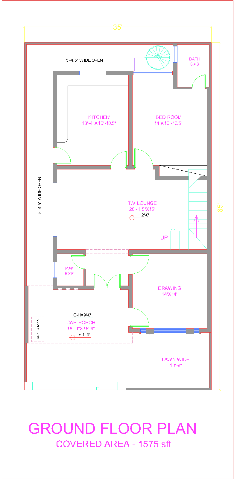 3d Front 10 Marla House Plan Layout