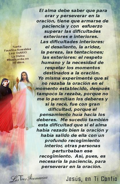 escrito de santa faustina en el diario lo que debo saber hacerca de la oracion