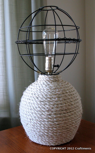 Craftiments.com:  Nautical Rope Lamp with Openwork Globe Shade