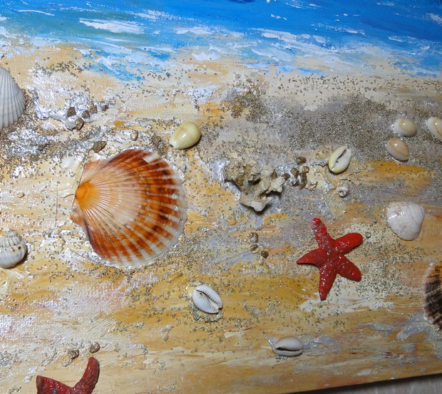 Id es de papillon plage et coquillages for Peinture avec du sable