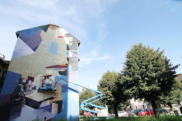 Robert Tone Proch and Chazme MURAL IN Kosice , Slovakia - Cherry Picker Progress 2