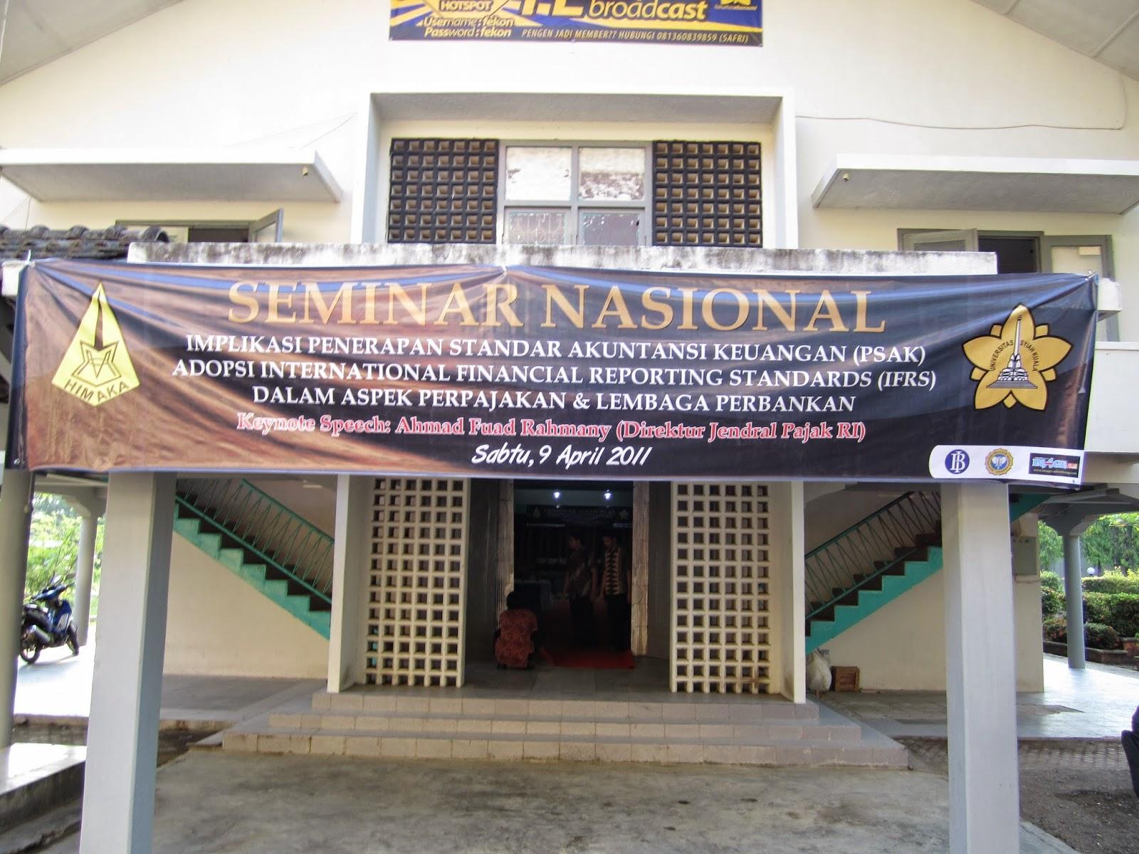 Prodi D-III Perpajakan Menyelenggarakan Seminar Nasional Yang disampaikan Oleh Direktur Jendral Pajaka RI.