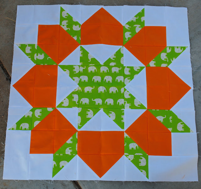elephant swoon block 5 green and orange