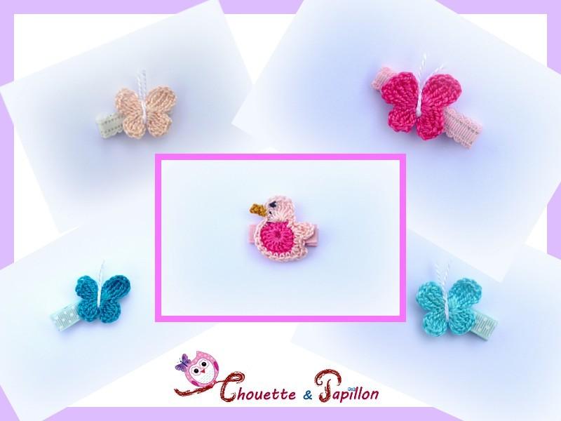 barrettes bebe ou barrettes fille au crochet papillons canards. Black Bedroom Furniture Sets. Home Design Ideas