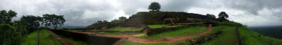 Panorama photograph, Sigiriya Lion's Rock, top, summit, high quality, pyramid ledges look, King Kashyapa palace, ruins