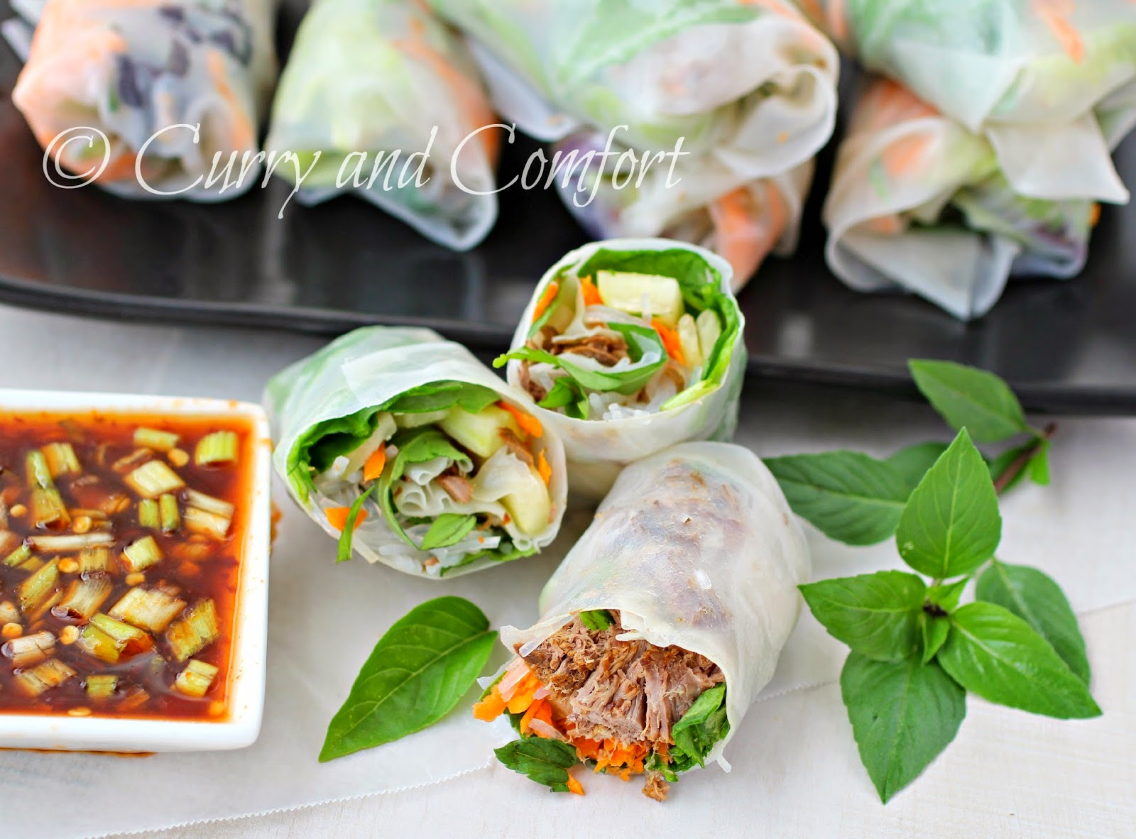 Beef Summer Rolls With Spicy Dipping Sauce