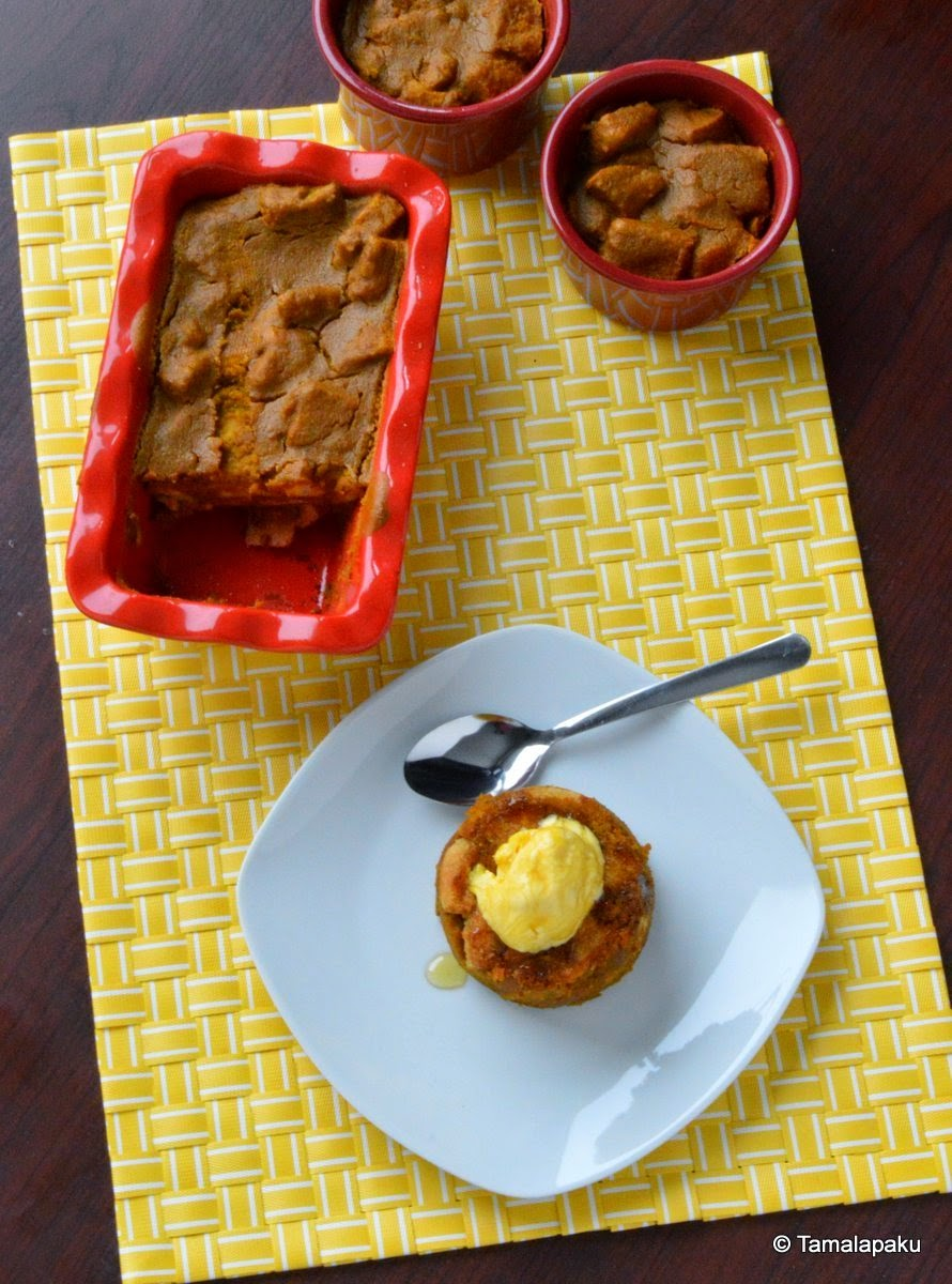 Eggless Pumpkin Bread Pudding