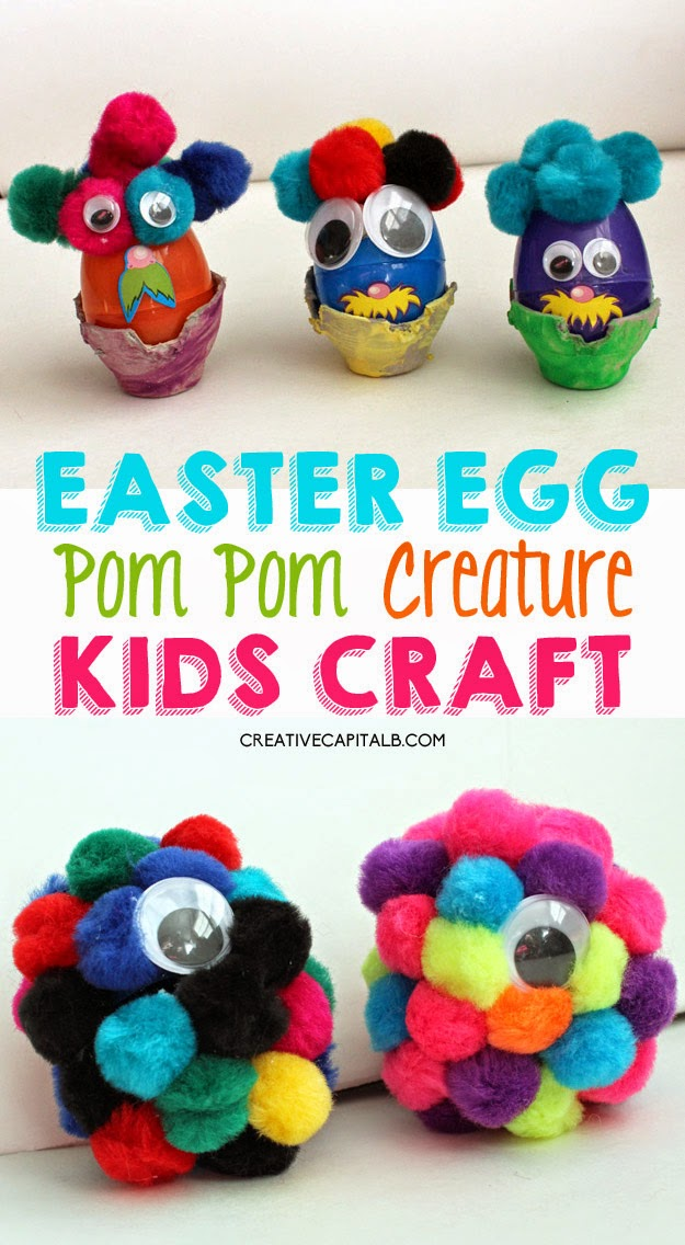 Simple Easter Egg Kid Craft: Fun Pom Pom Creatures