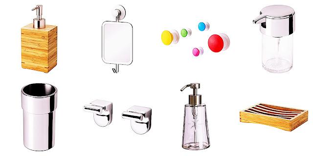 Ikea, dodatki do łazienki, Mydelniczka, dozownik mydła, hak, kubek na szczoteczki