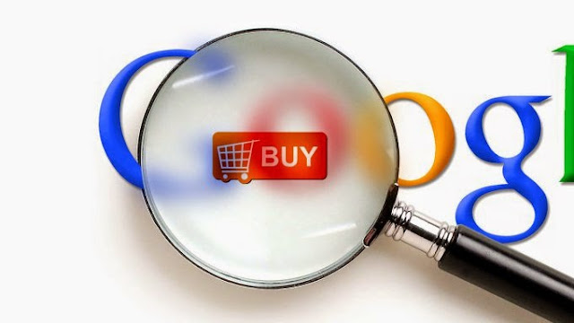 A magnifying glass magnifies a BUY, shopping cart button hidden on the Google logo.