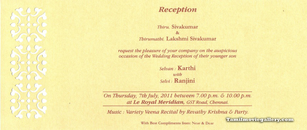 Karthik Sivakumar Marriage Invitation Card Stills Photos Karthi ...