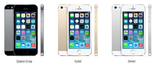 iPhone 5S disponível em 3 cores: dourada, prateada e cinza espacial.