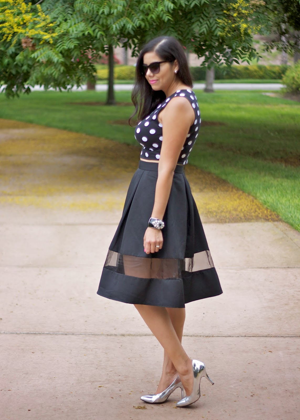 Express Midi skirt with sheer panel, black midi skirt with silver heels, midi skirt with sheer panel, classy but sexy outfit for date night