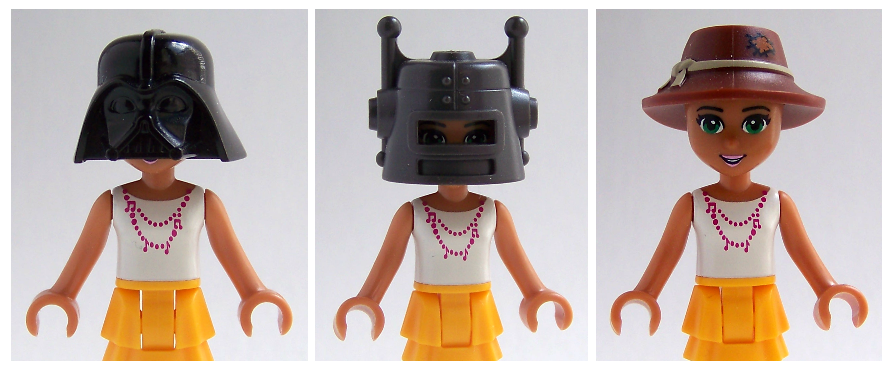 LEGO minifigure hats on LEGO Friends