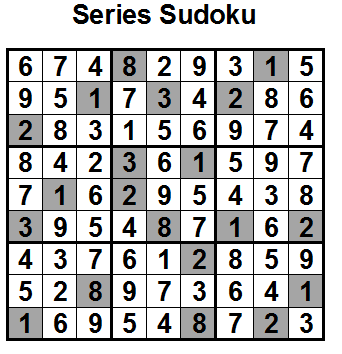 Series Sudoku (Fun With Sudoku #9) Solution