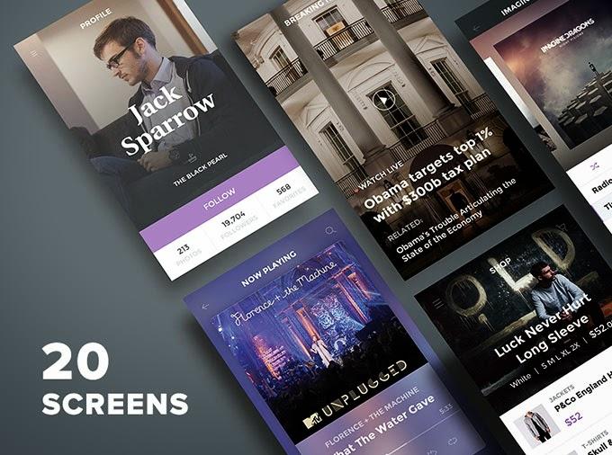 20 Mobile App Screens UI PSD