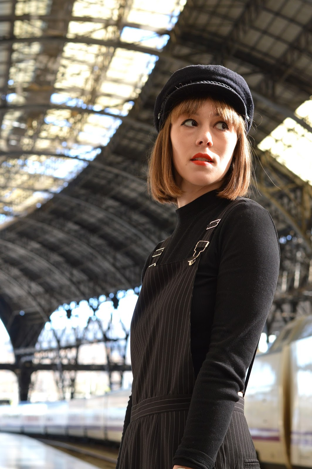 Missguided pinstripe dungarees at the train station