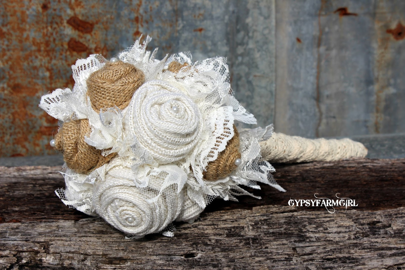 burlap and lace bouquet