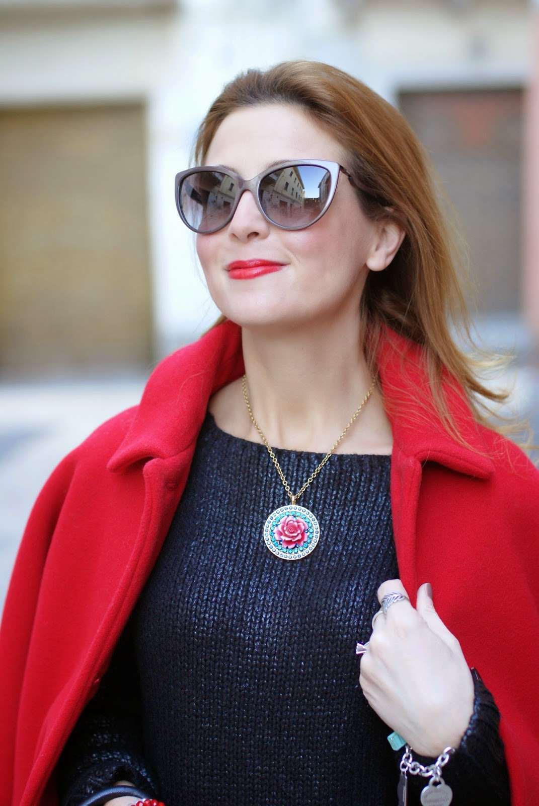 red Kiomi coat, Moschino sunglasses, Fashion and Cookies, fashion blogger