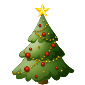 X mas tree decorated with Christmas star,ornaments, and red Christmas baubles decoration clip art photo
