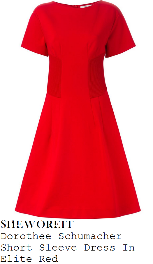 lucy-mecklenburgh-red-short-sleeve-ribbed-detail-flared-skater-dress