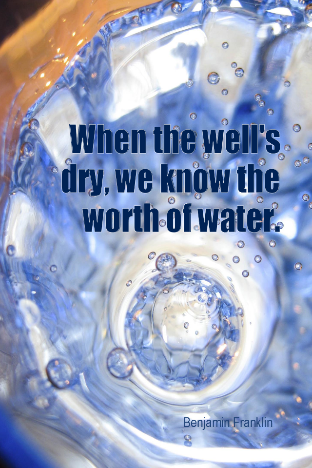 visual quote - image quotation for PERSPECTIVE - When the well's dry, we know the worth of water. - Benjamin Franklin