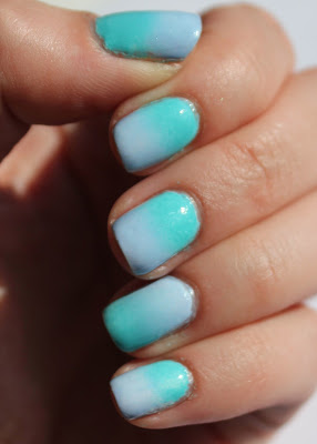 Gradient nails with Essie Bikini So Teeny and In the Cab-ana