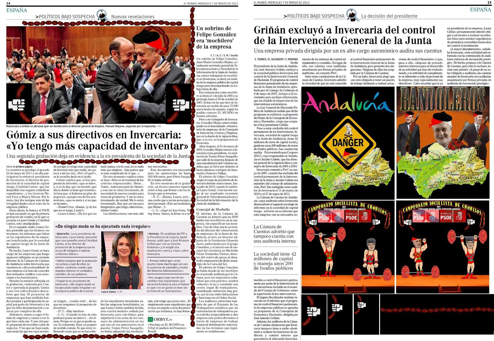 Campeonato socialista de chorizos: Hoy compiten la Federación andaluza representada por Pepe Griñán contra la Federación gallega representada por Pepiño Blanco