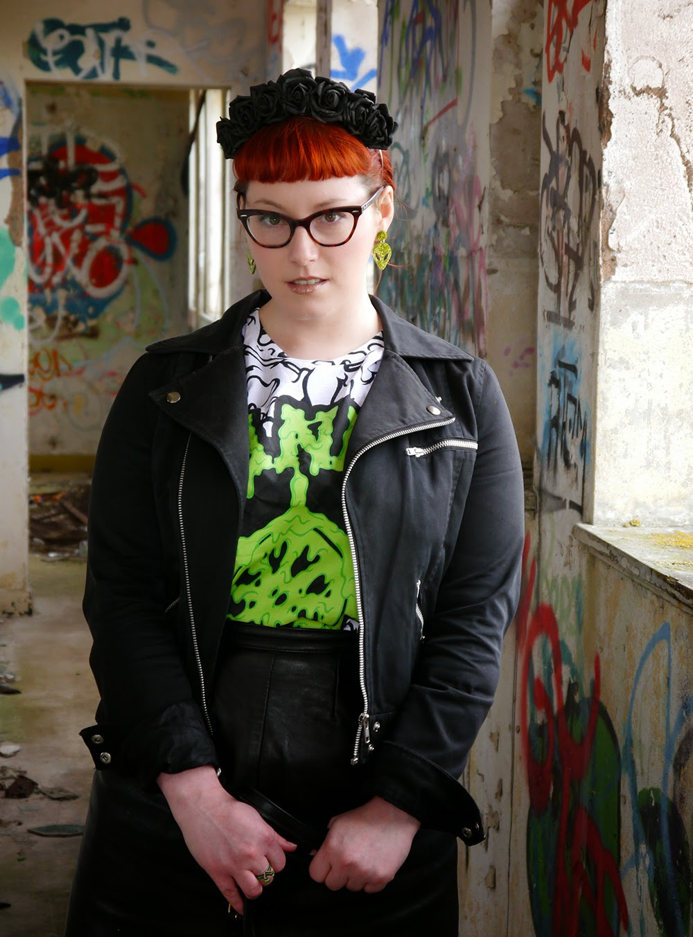 Styled by Helen, space style, scottish blogger, red head, ginger, Abandon Ship, Abandon Ship Apparel, slim tshirt, H&M biker jacekt, Sugar and Vice, Sugar & Vice, Alien earrings, alien style, outerspace styling, Carnabys, vintage leather skirt, Youth Rise Up, skeleton slippers, skeleton shoes, bone shoes, Accessorize, camera shaped bag, Crown & Glory, black flower crown