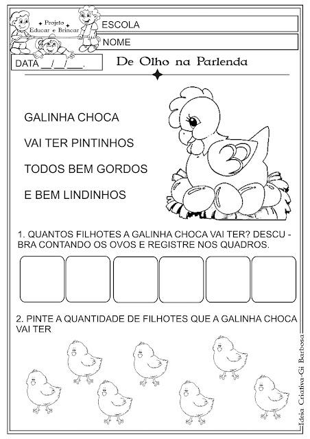 Atividade Folclore Educação Infantil Parlenda Galinha Choca