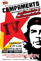 Cartel IV Campamento Nacional de la Juventud Aantifascista y Aantiimperialista Venezuela 2013