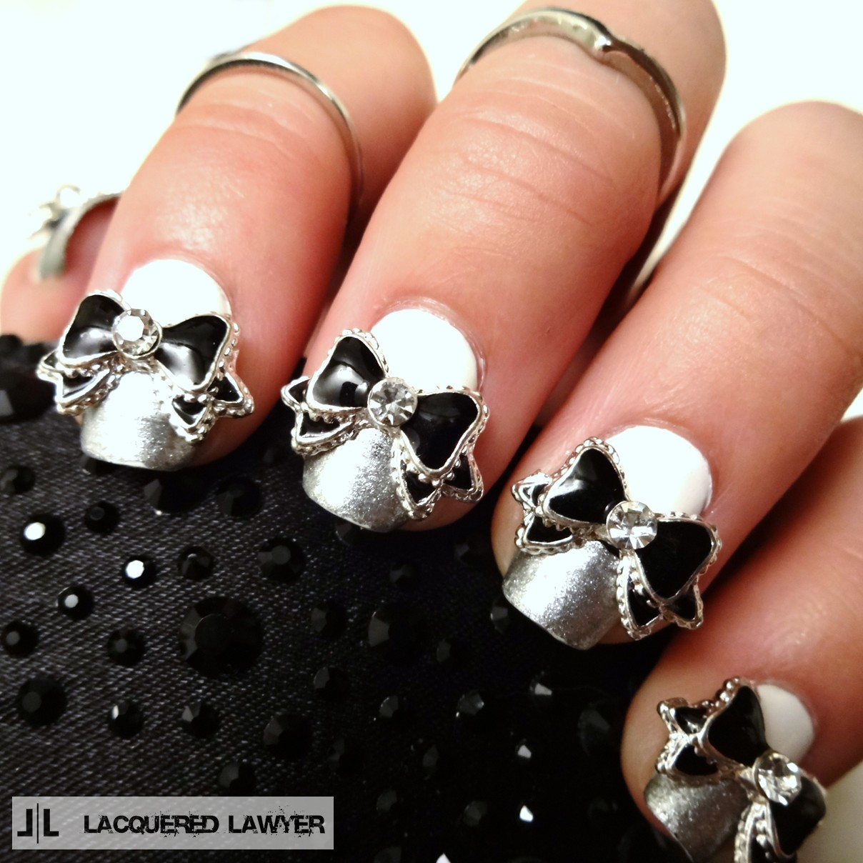 Lacquered lawyer nail art blog bow tie affair part one black bow 3d nail art prinsesfo Image collections