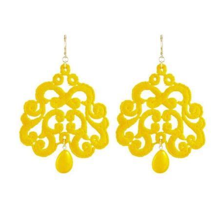 Boucles doreilles Nuage en dentelle jaune , Tita Bijoux