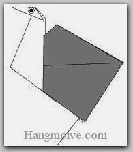 Bước 9: Vẽ mắt để hoàn thành cách xếp con đà điểu bằng giấy theo phong cách origami.