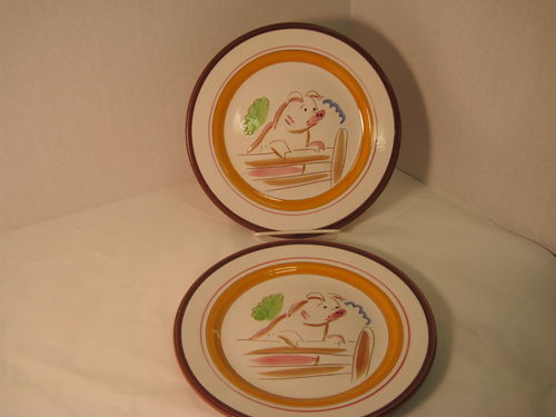 Stangl Pottery Country Life Piggy on a Fence Plates & Stangl Pottery: Stangl Pottery Country Life Piggy on a Fence Plates