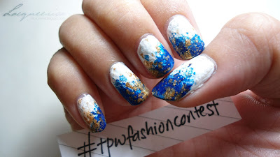 Textured Nails - Blue, White and Gold