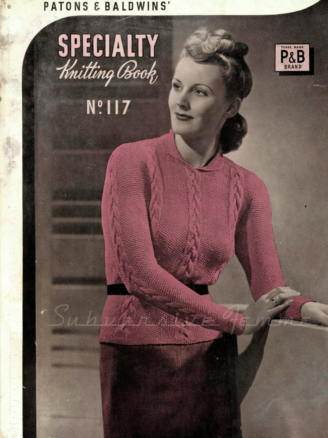 free vintage knitting pattern 1940s patons sweater jumper large size