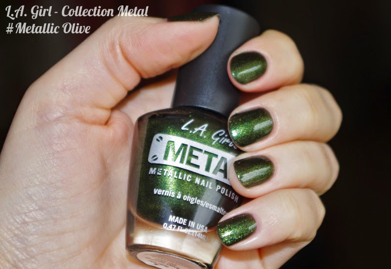 Swatch vernis L.A. Girl collection Metal #Metallic Olive