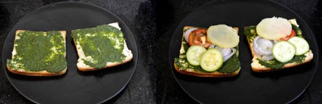 how to make vegetable sandwich toast with green chutney