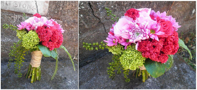 fuchsia celosia, purple chrysanthemum, hot pink rose, green hydrangea, fern, green dewdrop