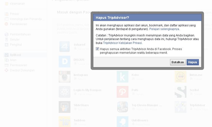 Cara menghilangkan Tag dan Update otomatis di Facebook
