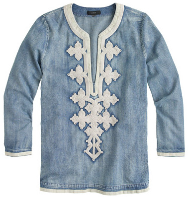 j.crew embroidered denim tunic