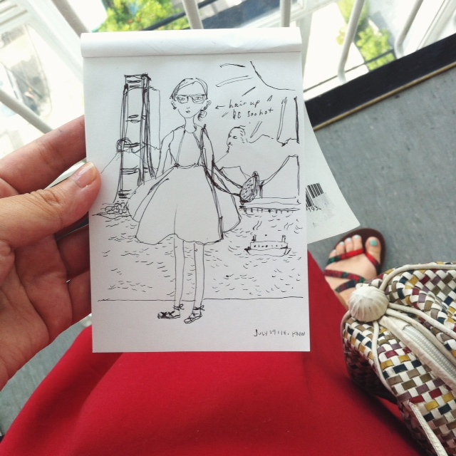 red dress ootd and doodle of HK IFC and Lion's Rock