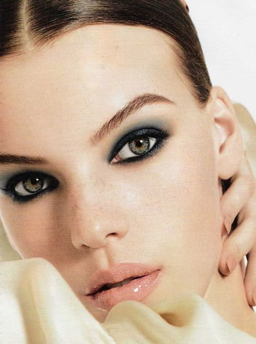 beautiful grey make-up with smoky eyes and peach lips