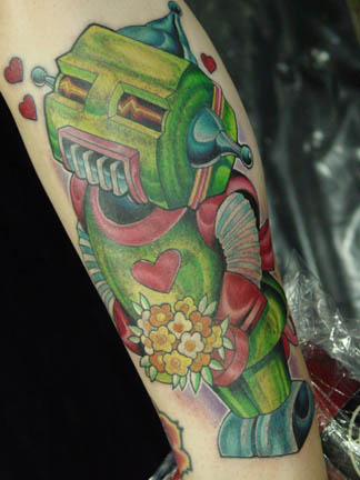 green robot tattoo >#tattoofriday   Robot