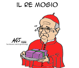 Bertone, Bambin Gesù, doni, re magi, satira vignetta