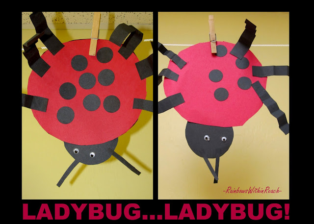 photo of: Ladybug bulletin board, ladybug craft for children, insect art for preschool