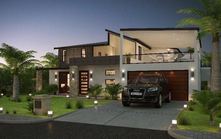 Front elevation modern house home decorating ideas Contemporary home builder