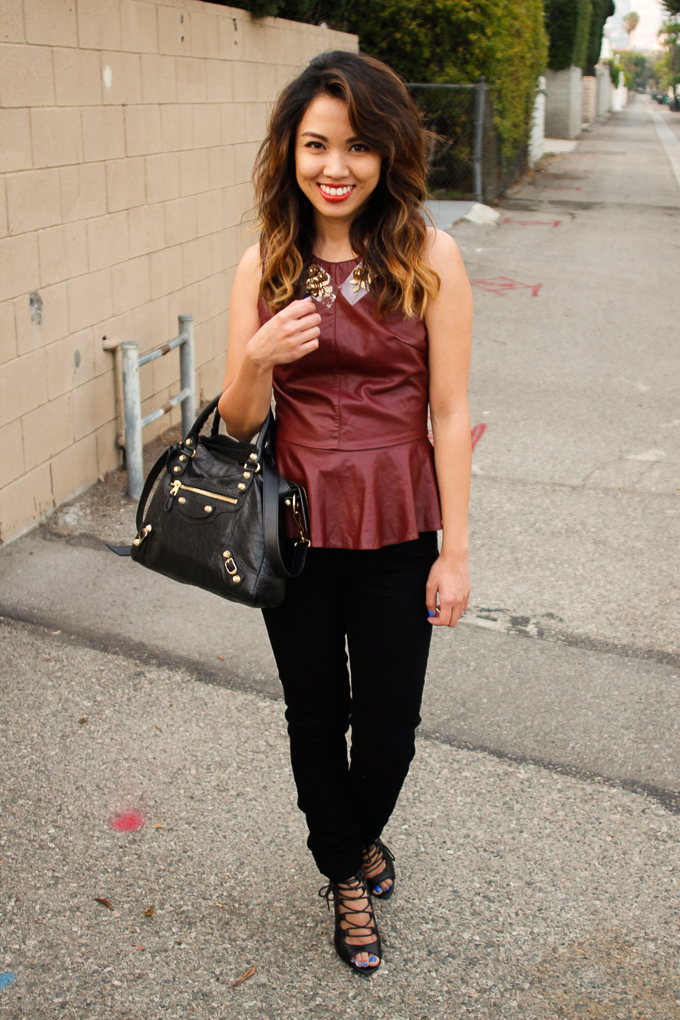 Lovers + Friends Oxblood Peplum Top, Rich and Skinny Jeans, beautybitten, outfit