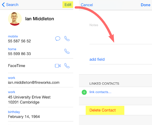 How to delete lists in Contact 79